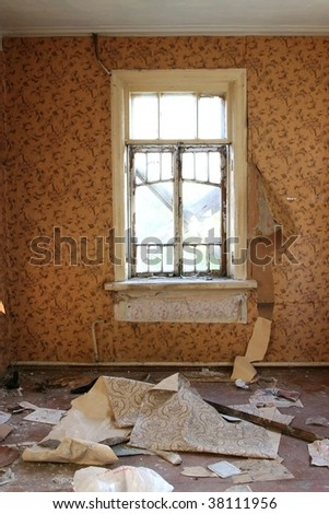 abandoned interior with window - stock photo