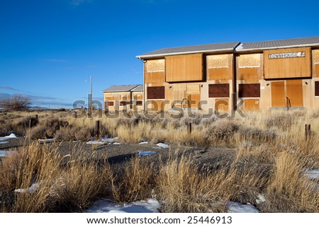 Abandoned Jeffrey City, Wyoming - a Uranium-mining boomtown established around 1957, shut down in 1982 and 95% of its population fled the city.