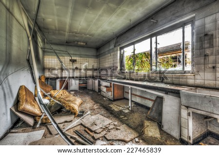 Abandoned laboratory in a derelict factory, HDR - stock photo