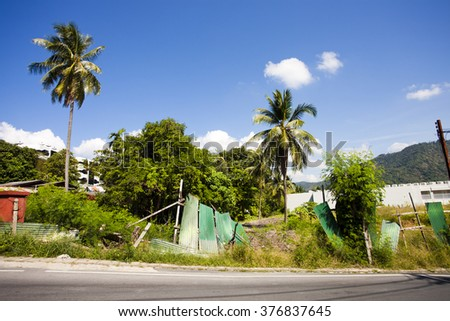 Abandoned land and construction, summer - stock photo