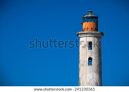 Abandoned lighthouse at Klein Cura�§ao - stock photo