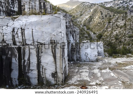 Abandoned marble mine in italy - stock photo