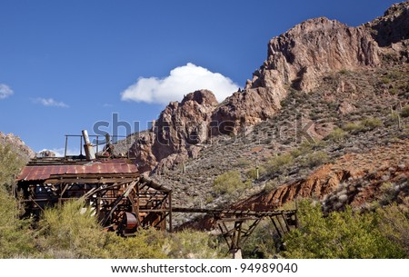 Abandoned Martinez gold, silver and copper mine near Phoenix  and Florence Arizona. - stock photo