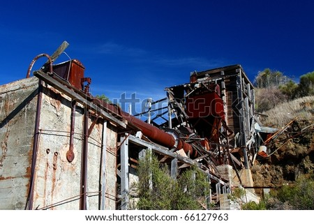 Abandoned Mercury Rotary Furnace - stock photo