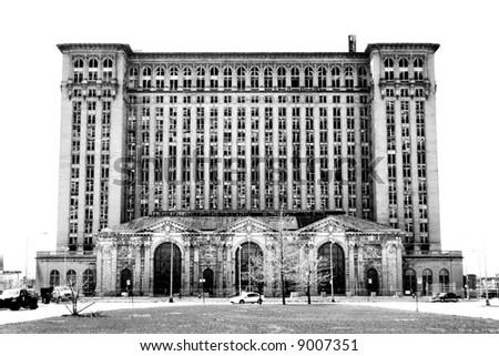 Abandoned Michigan Central Train Station, Detroit Michigan - stock photo