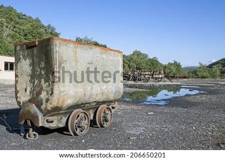 Abandoned mine car. - stock photo
