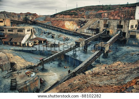 Abandoned mines copper, gold and silver of Tharsis, Huelva - Spain - stock photo