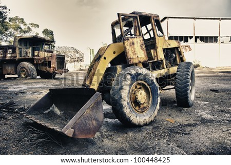 Abandoned mining huge industrial truck, in Spain - stock photo