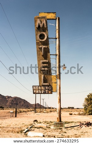 Abandoned Motel Sign in the Deseret in California