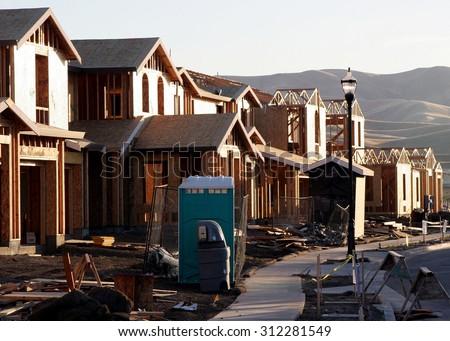 Abandoned new houses. - stock photo