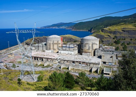 Abandoned nuclear power plant - stock photo