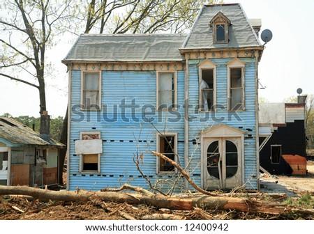 abandoned old house - stock photo