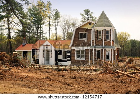 abandoned old house ready for demolition - stock photo