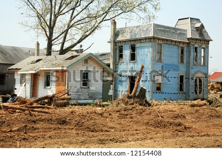 abandoned old houses ready for demolition - stock photo