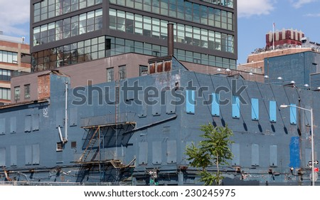Abandoned Old Ruined building downtown of Manhattan, NYC - stock photo