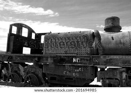 Abandoned old rusty train in black and white - stock photo