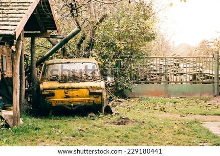 Abandoned old vehicle - stock photo