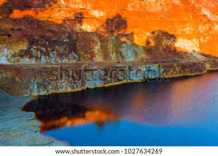 Abandoned open-pit mine of sulfide ore deposits in Sao Domingos, Portugal.