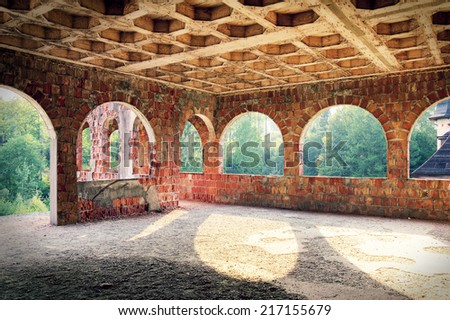 Abandoned place. Destroyed old interior. - stock photo