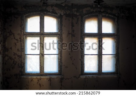 abandoned place. Interior old wall with old paint - stock photo