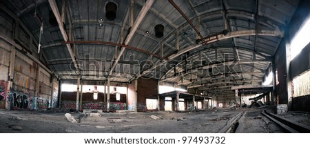 Abandoned plant horrible, dirty and big interior - stock photo