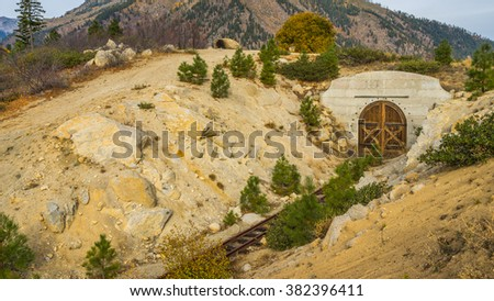 Abandoned railroad in the mountains in autumn, Mountain Home Road, LEAVENWORTH AREA, Washington state