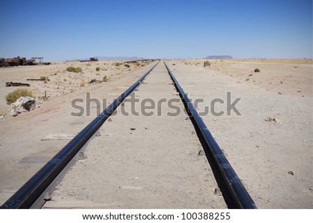 abandoned railways in bolivia - stock photo