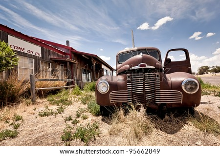 Abandoned restaraunt on route 66 road in USA - stock photo