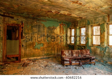 Abandoned room in the factory. - stock photo