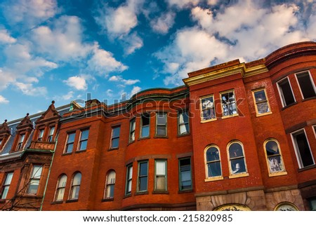 Abandoned rowhouses in Baltimore, Maryland. - stock photo