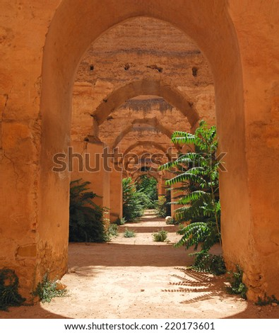 Abandoned Royal stables in Meknes, Morocco