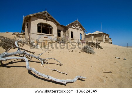 Abandoned ruin in a ghost town in Namibia - stock photo