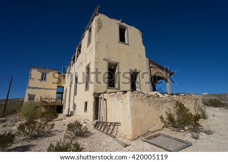 abandoned ruins of a building in Terlingua ghost town texas  - stock photo