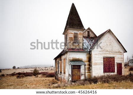 abandoned rural church in Oregon US - stock photo