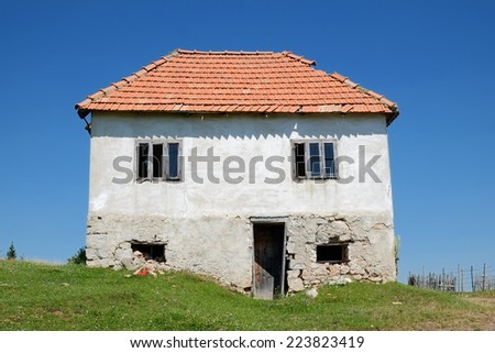 abandoned rural house, Serbia - stock photo