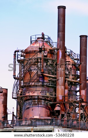 Abandoned rusty gas refinery in Seattle, Washington, now the site of a public park in the Fremont neighborhood, known as gasworks park - stock photo