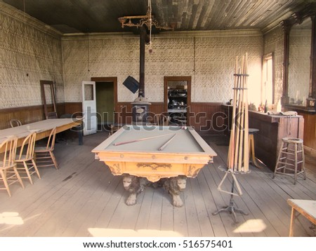 Abandoned saloon with billiard table of the ghost town Bodie