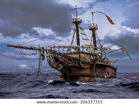 Abandoned ship at the sea - stock photo