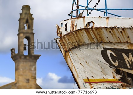 Abandoned ship in a small village, high density range image.