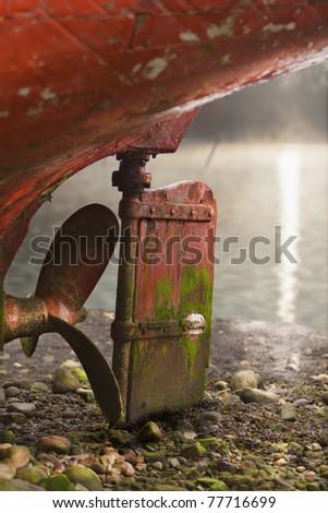Abandoned ship screw, high density range image - stock photo