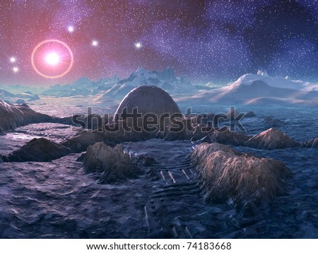 Abandoned Space Station on Hostile Alien Planet - stock photo
