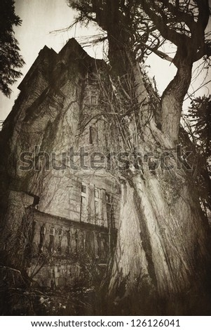 Abandoned spooky house- abstract vintage background - stock photo