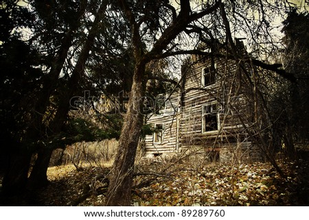 abandoned spooky house in deep mystery wood - stock photo