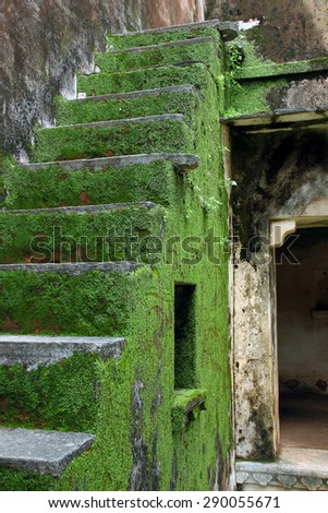 Abandoned stairs inside a fort, ancient structure - stock photo