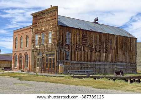 Abandoned store in the gold mining ghost town of Bodie, California, a State Historic Park