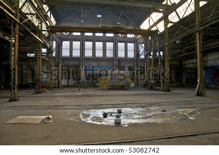 Abandoned train depot in Eastern-Atlanta Industrial park. Atlanta, Georgia, USA. - stock photo