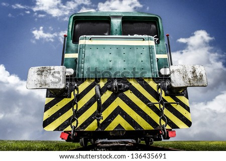 abandoned train, locomotive clouds on sky - stock photo