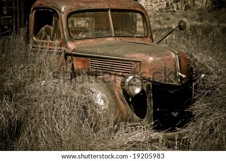 Abandoned truck photographed in the Eastern Sierras of California - stock photo