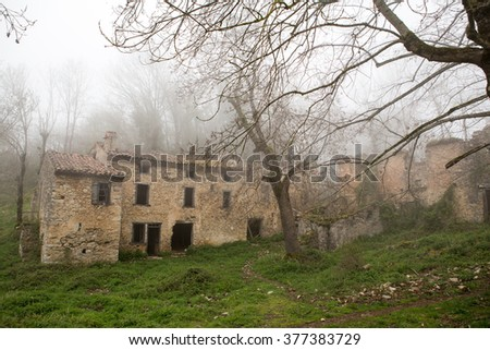 Abandoned village in Mountains of French Pyrenees  - stock photo
