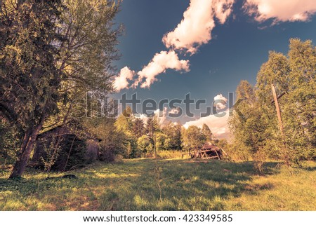 Abandoned village in the forest. Image in the orange-blue toning - stock photo